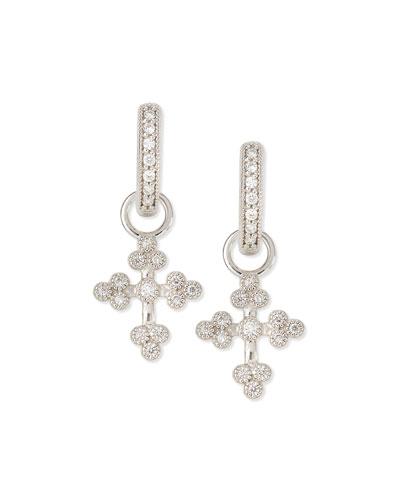 Tiny Provence Diamond Cross Earring Charms