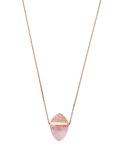 Crystal Acorn Pendant Necklace, Blush/Rose Golden