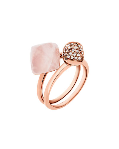 Blush Stacking Ring Set, Rose Golden