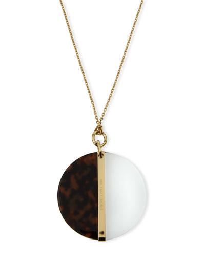 Long Tortoiseshell Disc Pendant Necklace