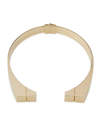 24K Engraved Bar Choker Necklace