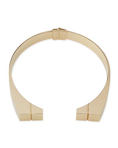 24K Engraved Bar Choker Necklace
