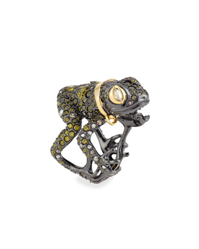 Crystal-Encrusted Frog Ring
