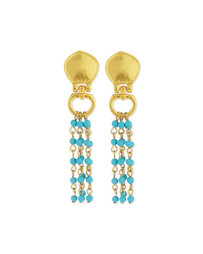 Cleo Beaded Turquoise Drop Earrings
