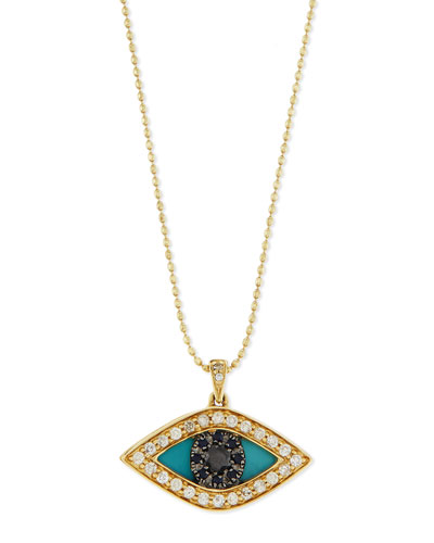 Diamond Evil Eye Swivel Pendant Necklace