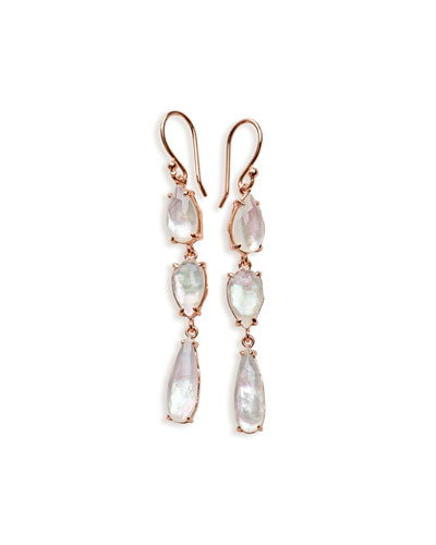 Wonderland Rosé Three-Stone Drop Earrings in Quartz Doublet