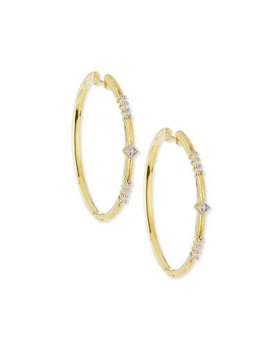 Lisse Triple Diamond Pavé Hoop Earrings
