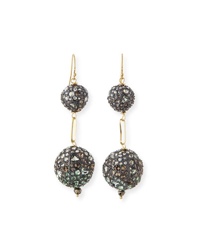 Pave Sphere Drop Earrings