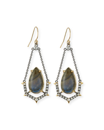 Labradorite & Crystal Spike Drop Earrings