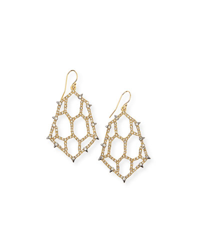 Crystal Honeycomb Wire Drop Earrings