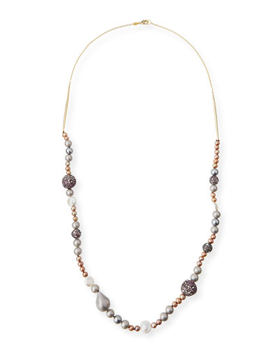 Long Pavé Sphere & Pearly Bead Necklace