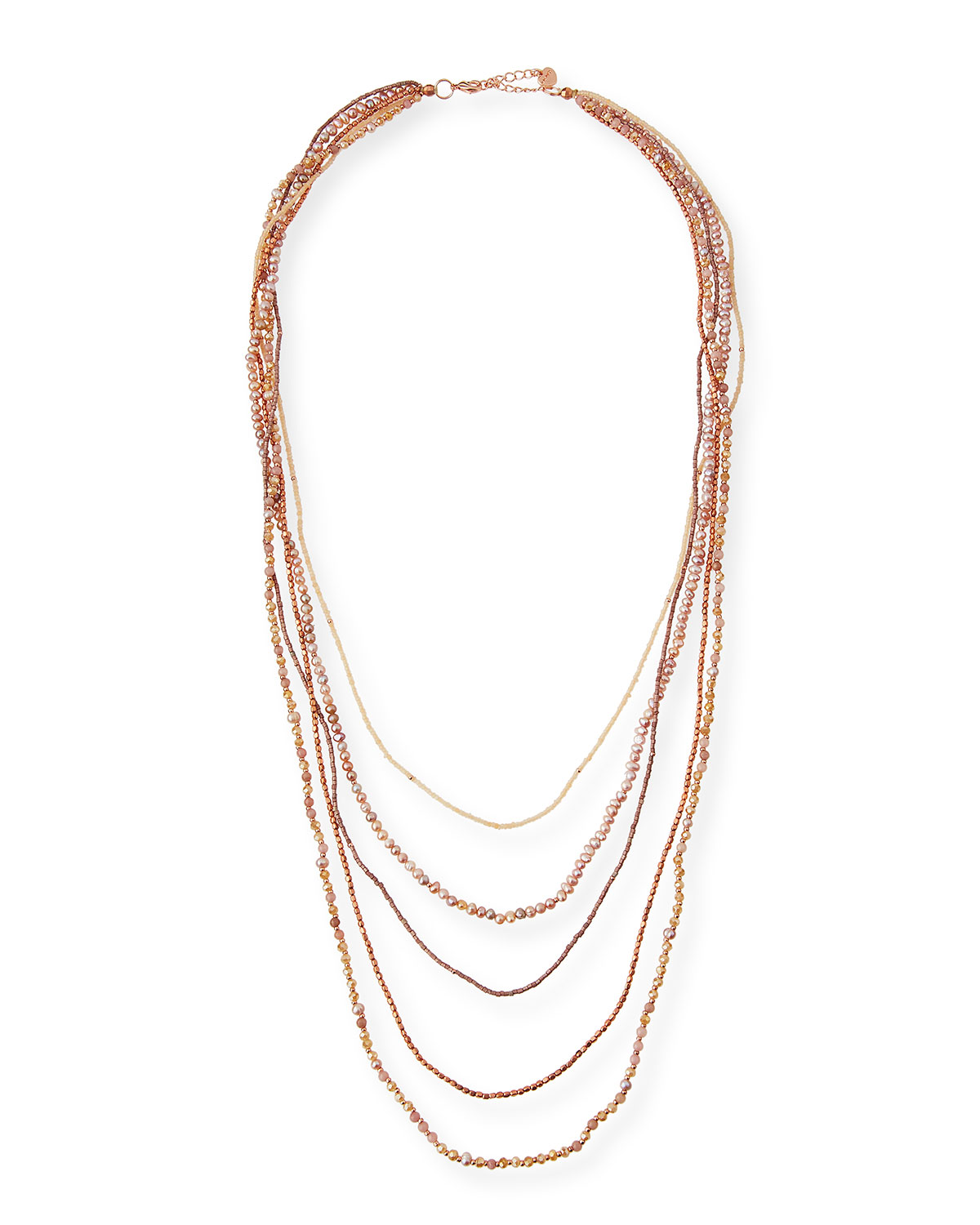 Five-Strand Long Pearl Necklace, Pink
