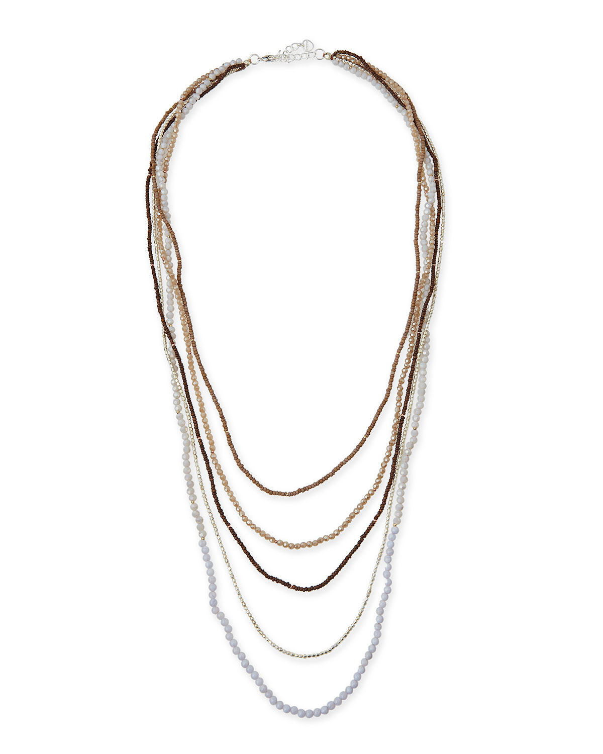 Five-Strand Long Pearl Necklace, Silver