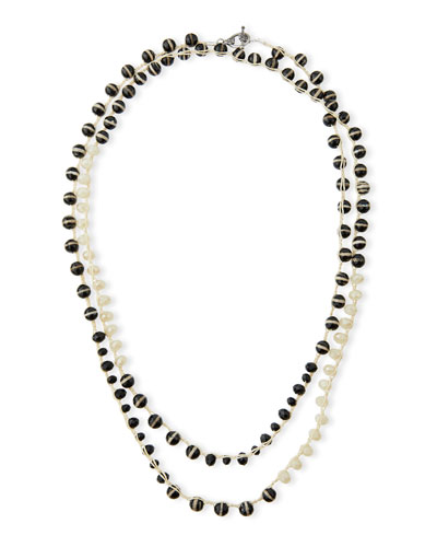 Black & White Striped Agate Crocheted Necklace, 54