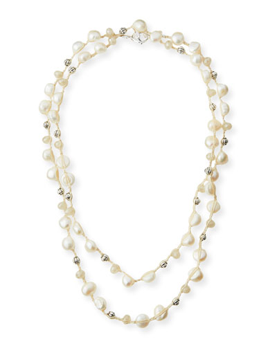Pearl & Carved Bead Crocheted Necklace,46