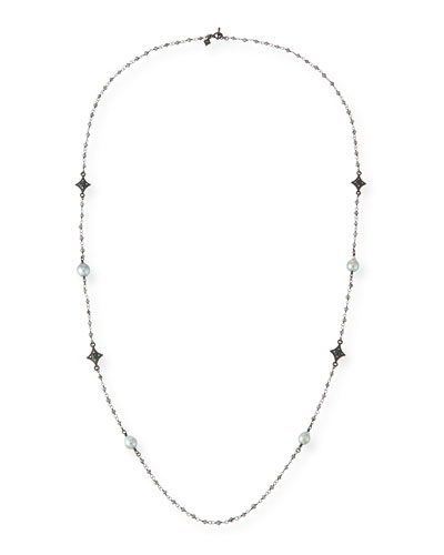 Old World Tahitian Pearl Station Necklace with Champagne Diamonds, 39