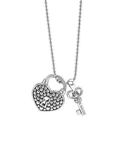 Beloved Heart Lock & Key Pendant Necklace