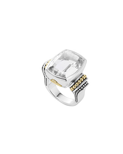 20mmm Caviar Color White Topaz Ring, Size 7