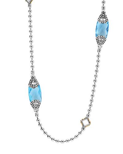 Caviar Color Blue Topaz Station Necklace