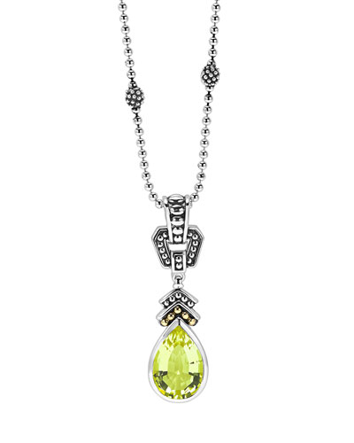 12mm Glacier Caviar Green Quartz Pendant Necklace