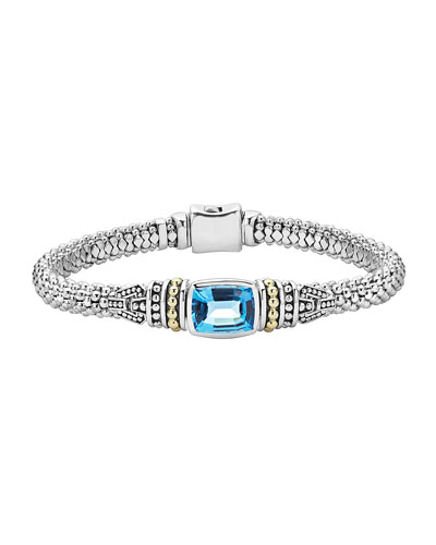 6mm Medium Caviar Color Blue Topaz Bracelet