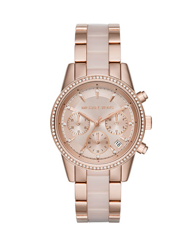 37mm Ritz Bracelet Strap Chronograph Watch, Rose Golden