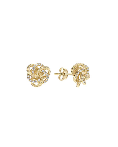 Diamond Love Knot Stud Earrings