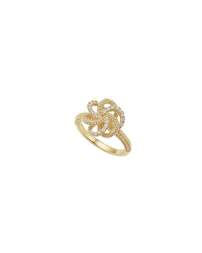 Love Knot 18K Diamond Ring, Size 7