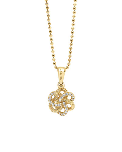 18K & Diamond Love Knot Pendant Necklace