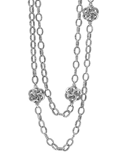 Sterling Silver Love Knot Station Necklace, 34