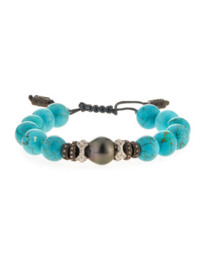 New World Tahitian Pearl & Magnesite Bracelet w/Diamonds
