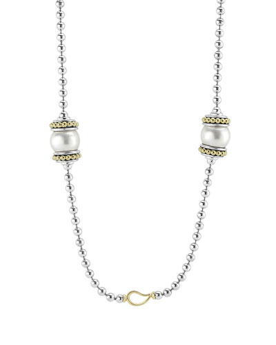Luna 9mm Pearl Link Station Necklace, 36