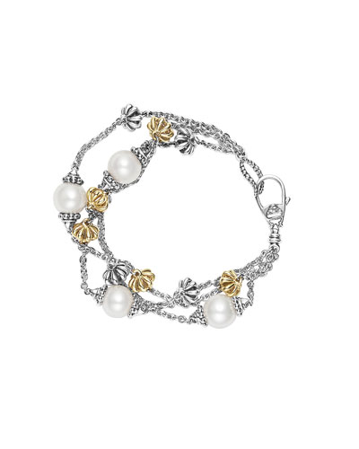 Luna Birdcage Three-Strand Pearl Bracelet, Size Medium