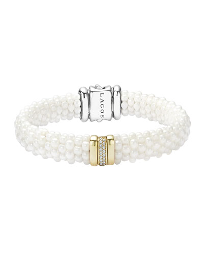 Caviar Ceramic Pearl & Diamond Bar Station Bracelet, Size Medium