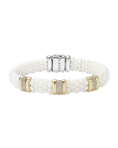 Caviar Ceramic Pearl & Diamond Three-Station Bracelet, Size Medium