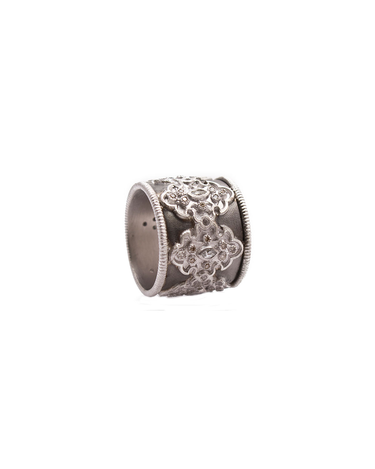 New World Midnight Wide Scroll Band with Diamonds