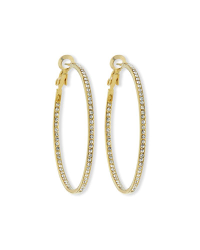 Crystal Eternity Hoop Earrings, Golden