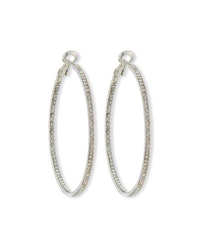 Crystal Eternity Hoop Earrings, Rhodium