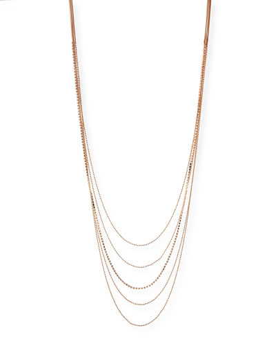 Layered Chain Multi-Row Necklace in Rose-Tone, 48