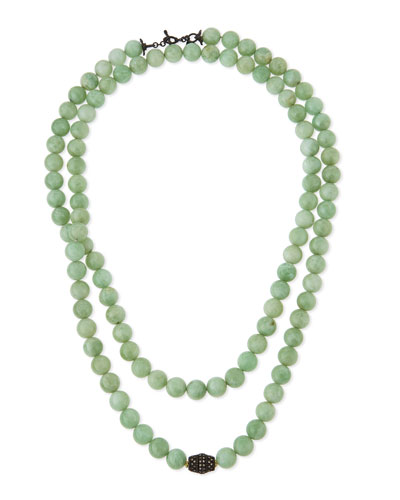 Old World Midnight Green Moonstone Bead Necklace with Diamonds