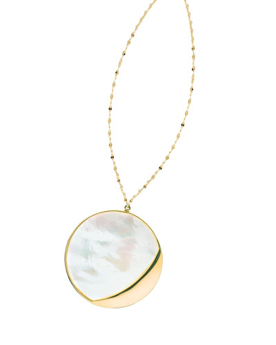 Large Satin Disc Pendant Necklace