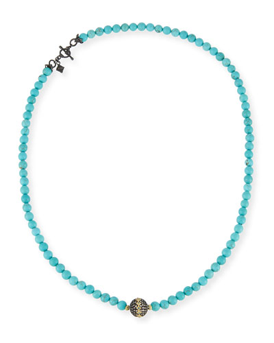 Old World Midnight Beaded Magnesite Necklace