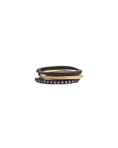 Old World Midnight Stacking Rings, Set of Three