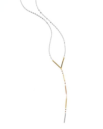 Dash Long Three-Tone Lariat Necklace