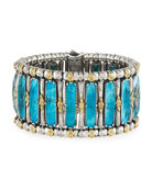 Faceted Crystal Quartz Over Chrysocolla Cuff Bracelet