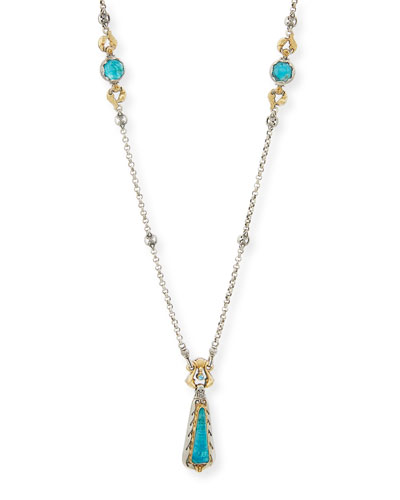 Carved Blue Crystal Quartz Over Chrysocolla Y-Drop Necklace