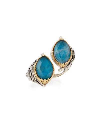 Marquis Crystal Quartz Over Chrysocolla Doublet Bypass Ring