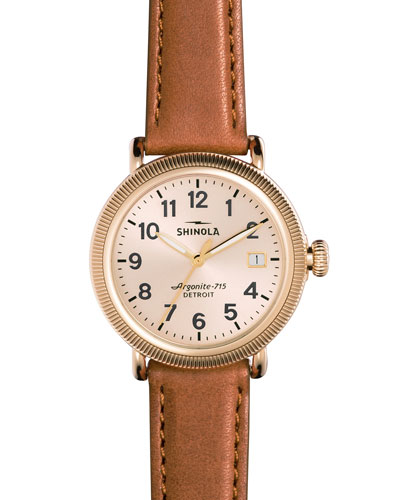 38mm Runwell Coin-Edge Leather Strap Watch, Golden/Bourbon