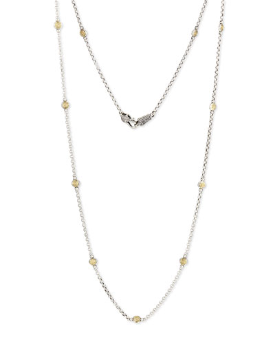 18K Gold & Sterling Silver Station Necklace, 34