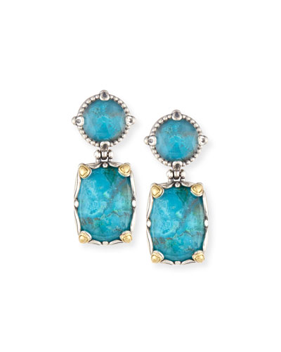 Crystal Quartz Over Chrysocolla Doublet Double-Drop Earrings